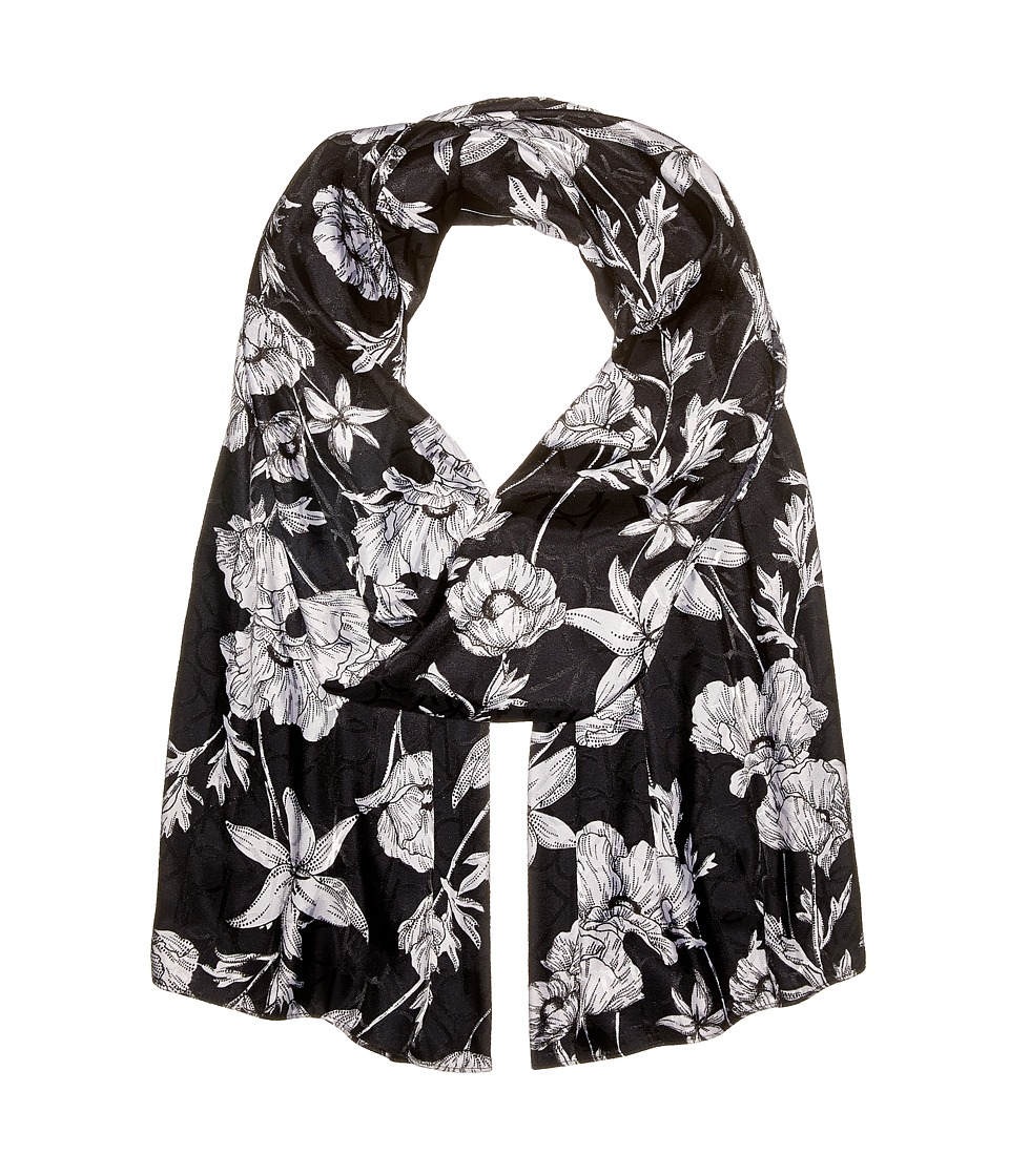 Calvin Klein - Graphic Floral Logo Scarf (Black) Scarves