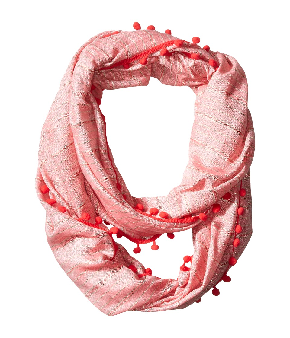 Calvin Klein - Lurex Stripe Infinity with Bobbles (Watermelon) Scarves