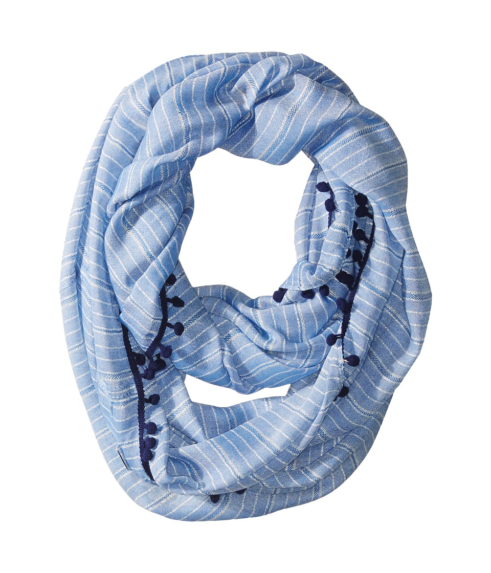 Calvin Klein - Lurex Stripe Infinity with Bobbles (Denim) Scarves