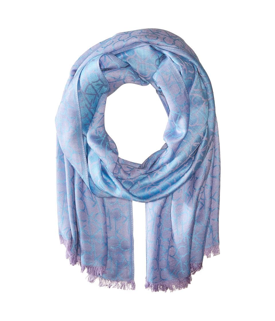 Calvin Klein - Two-Tone Logo Scarf (Lavender) Scarves