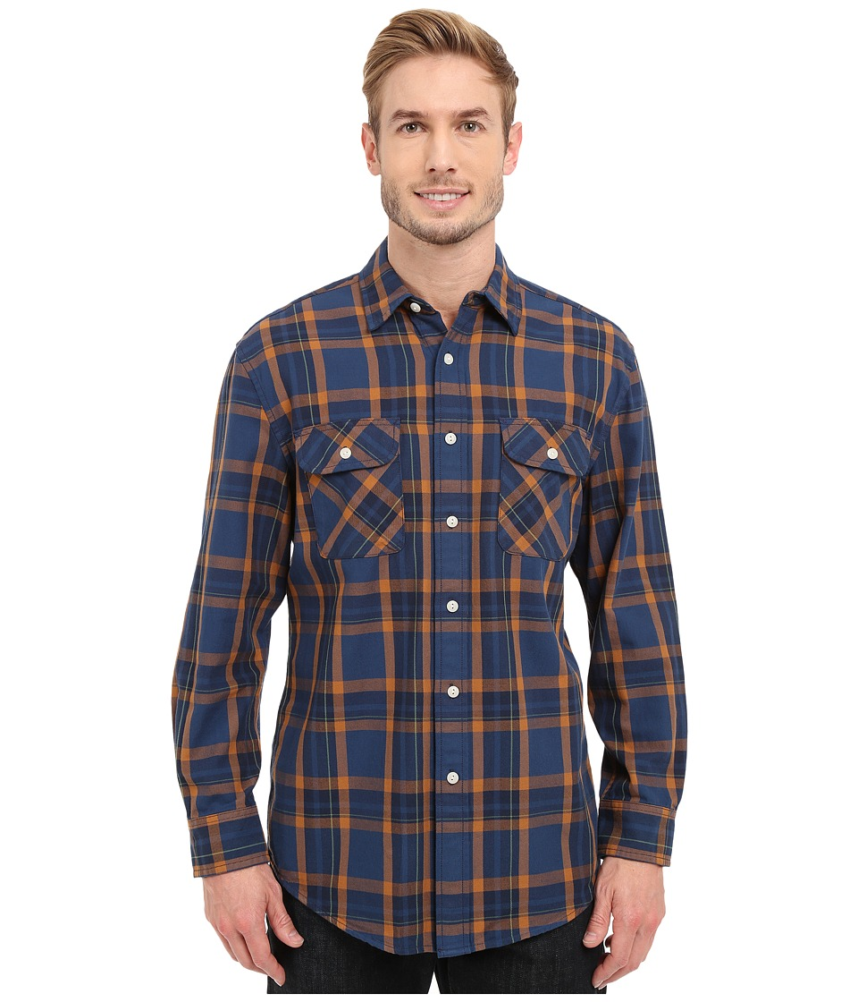 Pendleton - L/S Beach Shack Twill Shirt (Navy) Men's Long Sleeve Button Up