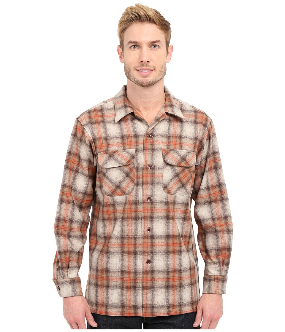 Pendleton - L/S Board Shirt (Tan/Copper) Men's Long Sleeve Button Up