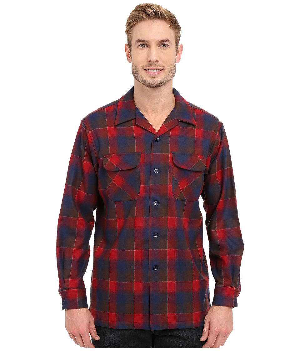 Pendleton - L/S Board Shirt (Red/Brown) Men's Long Sleeve Button Up
