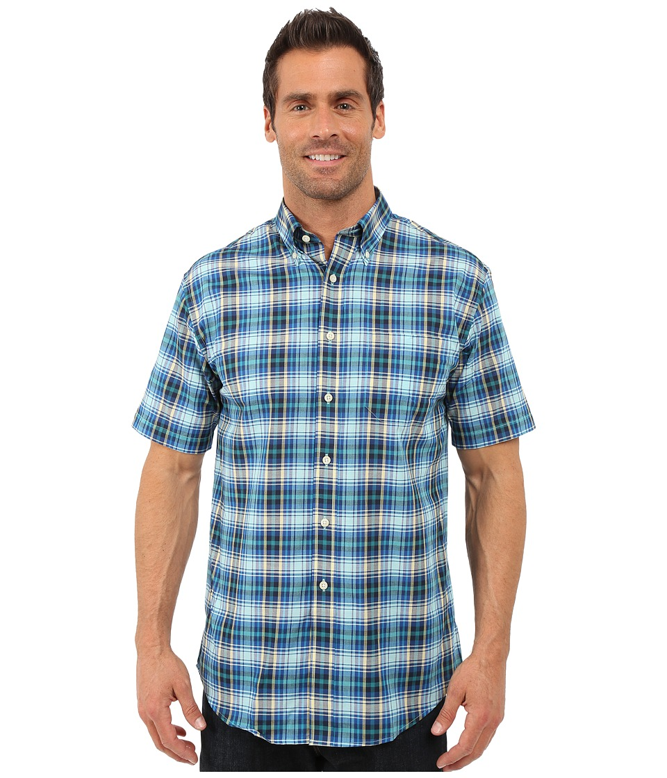 Pendleton - S/S Seaside Button Down Shirt (Blue/Turquoise) Men's Short Sleeve Button Up