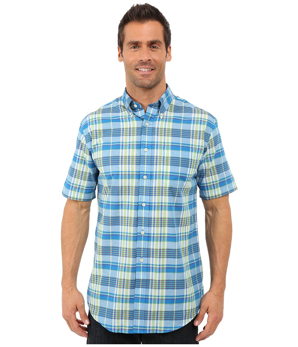 Pendleton - S/S Seaside Button Down Shirt (Blue/Green) Men's Short Sleeve Button Up
