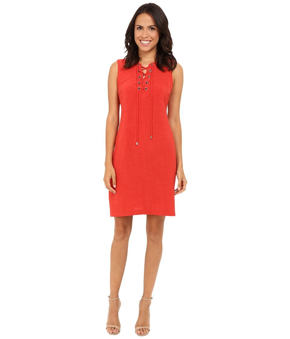 Christin Michaels - Vera Lace-Up Shift Dress (Sunset Orange) Women's Dress