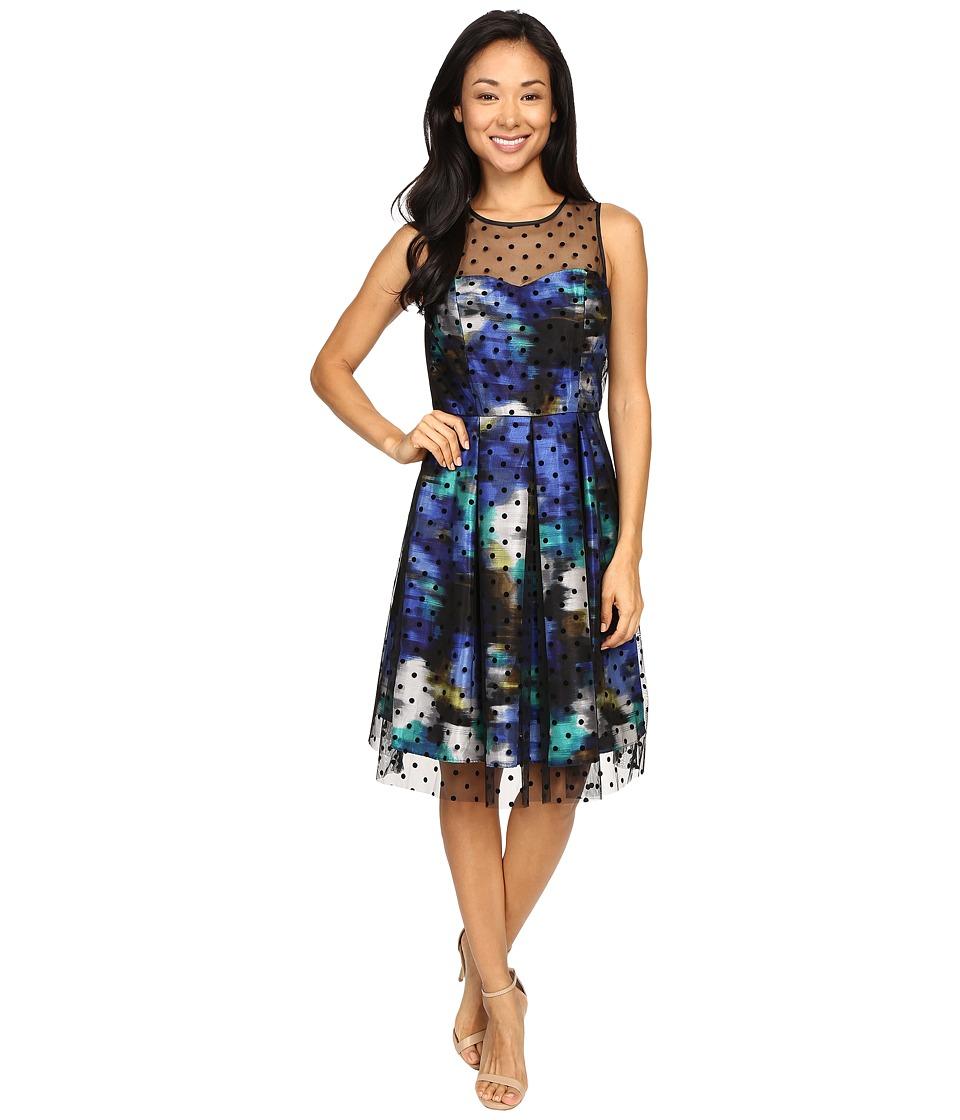 Christin Michaels - Toni Polka Dot Overlay Dress (Blue Combo) Women's Dress