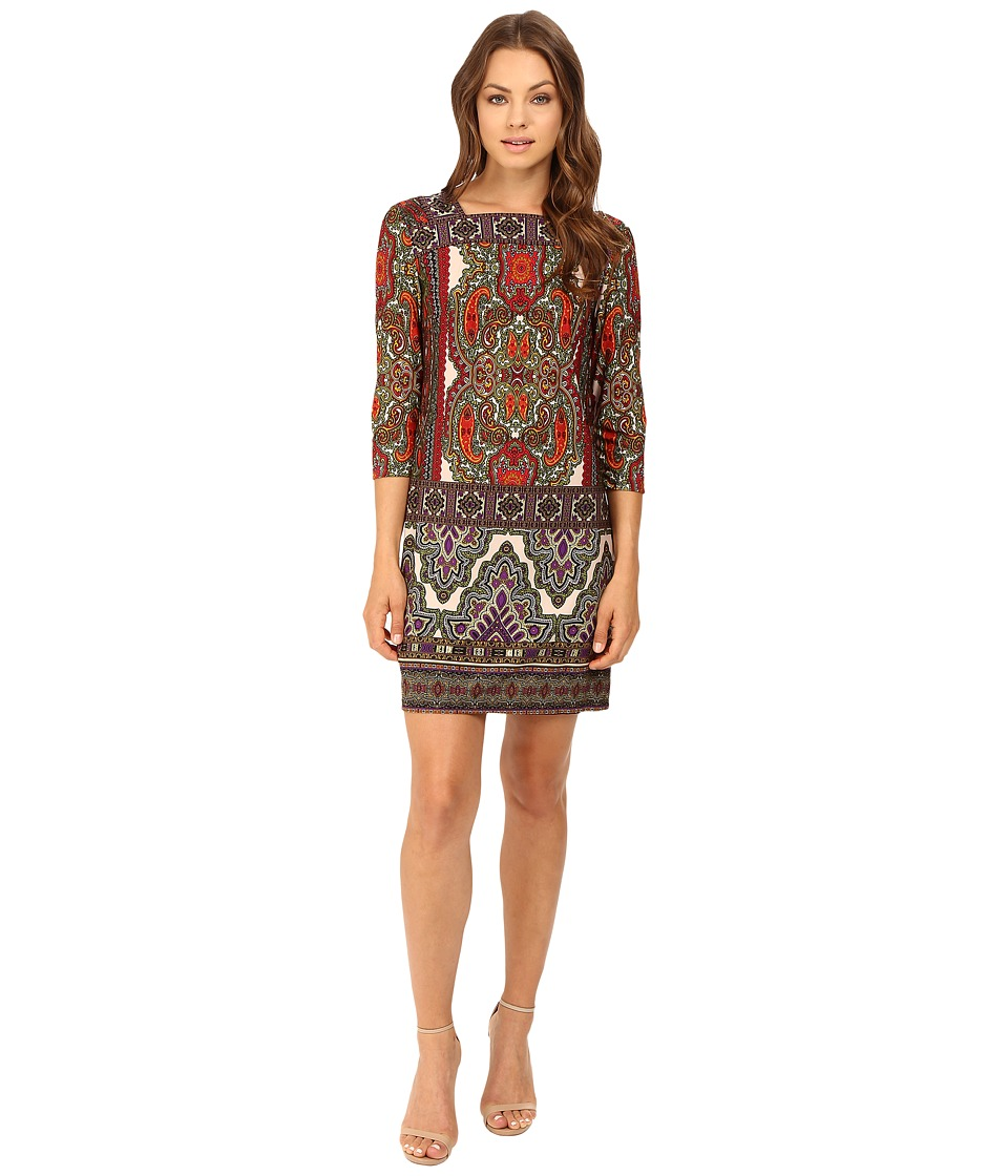 Christin Michaels - Katy Paisley Printed Dress (Red/Olive/Purple) Women's Dress