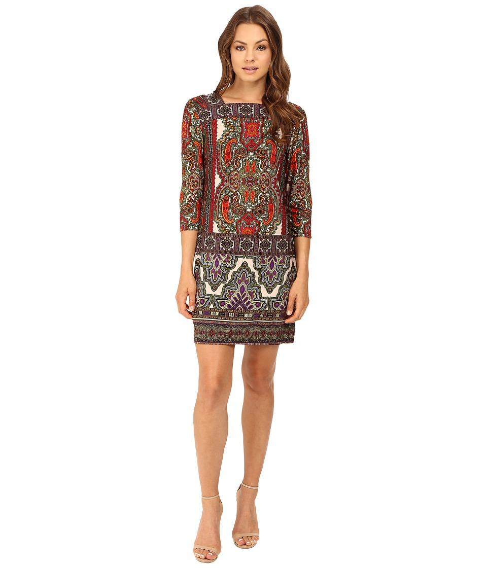 Christin Michaels Katy Paisley Printed Dress (Red/Olive/Purple) Women