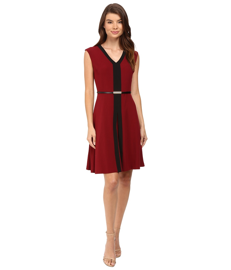Christin Michaels - Kari Fit and Flare Belted Dress (Bordeaux) Women's Dress