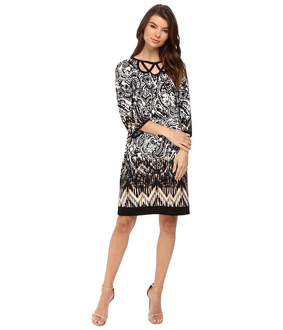 Christin Michaels Amy Long Sleeve Printed Dress (Ivory/Black) Women