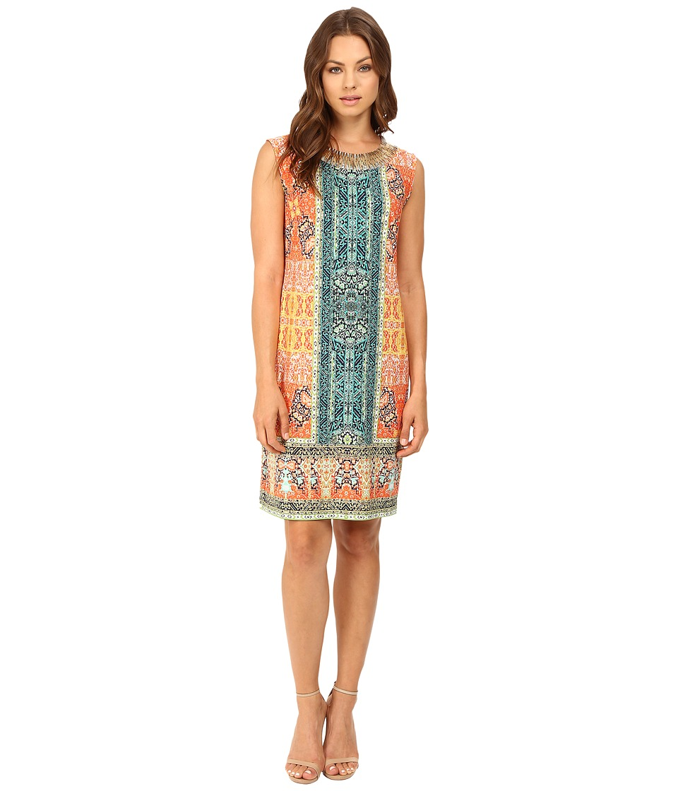 Christin Michaels - Marian Beaded Neck Dress (Navy/Mint/Coral) Women's Dress