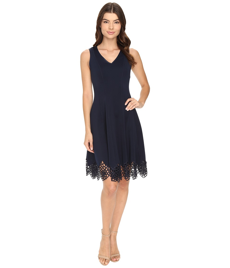 Christin Michaels - Flare Crochet Hem Scuba (Navy) Women's Clothing