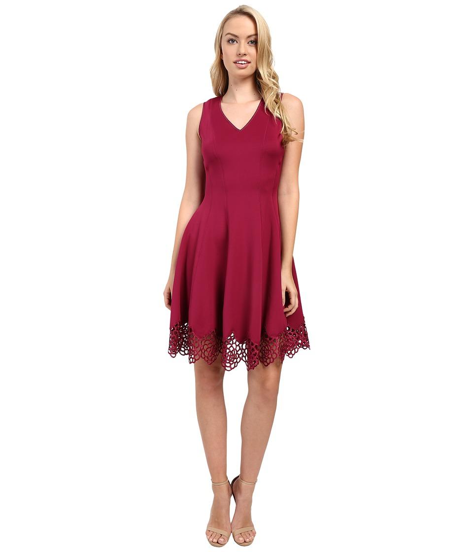 Christin Michaels - Flare Crochet Hem Scuba (Raspberry) Women's Clothing