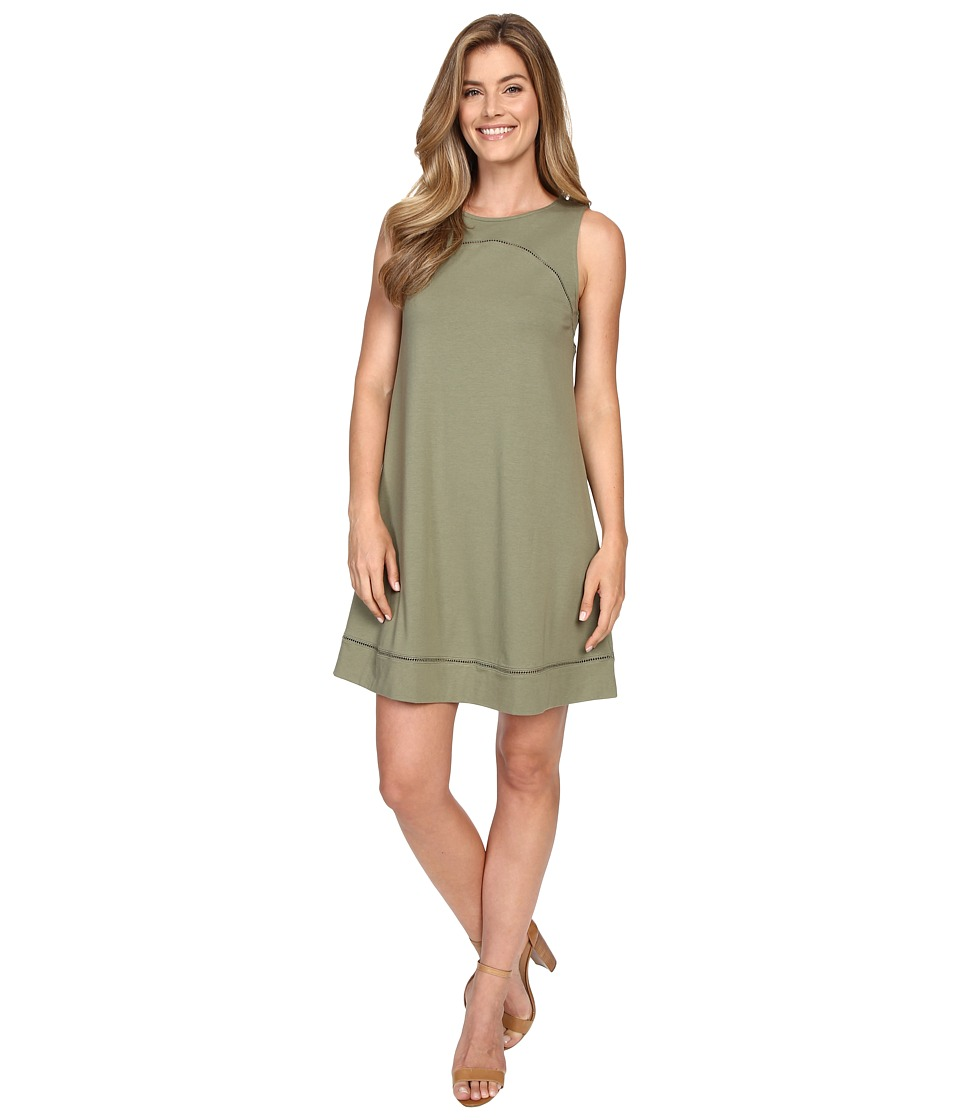 Lilla P Pima Modal Stretch Seamed Shift Dress (Thyme) Women