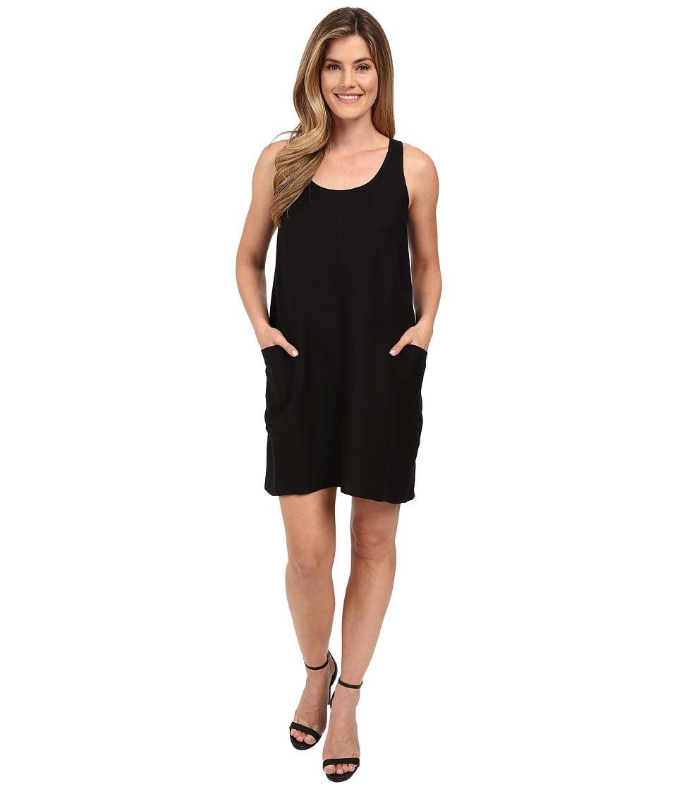 Lilla P Linen Sleeveless Pocket Dress (Black) Women