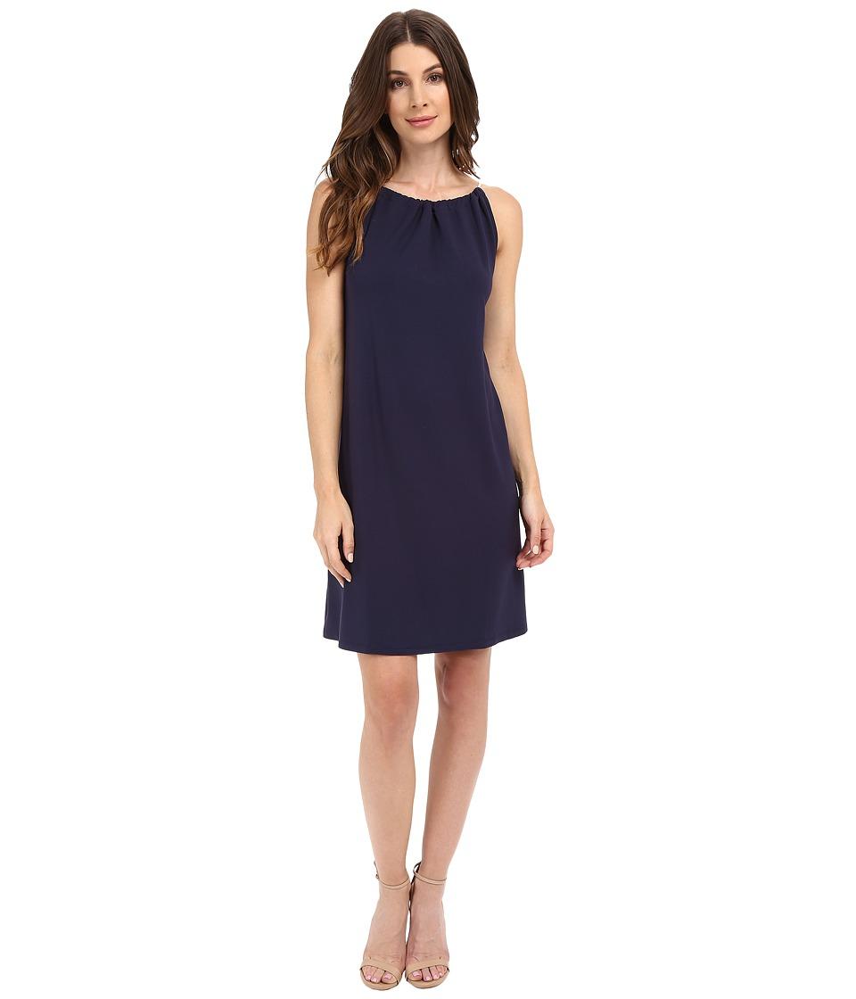 Lilla P - Stretch Jersey Shirred Neck Dress (Peacoat) Women's Dress
