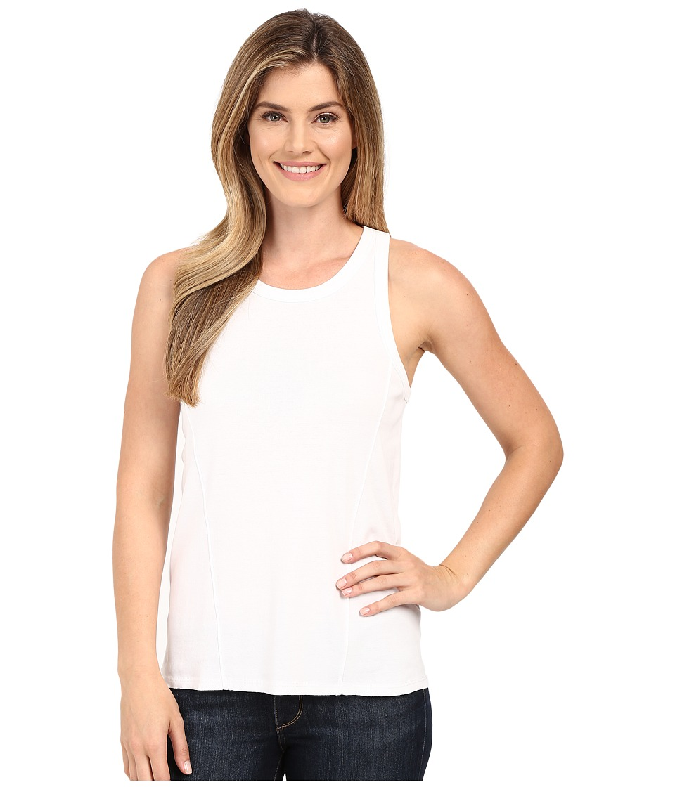 Lilla P - Fine Rib Racerback Tank Top (White) Women's Sleeveless
