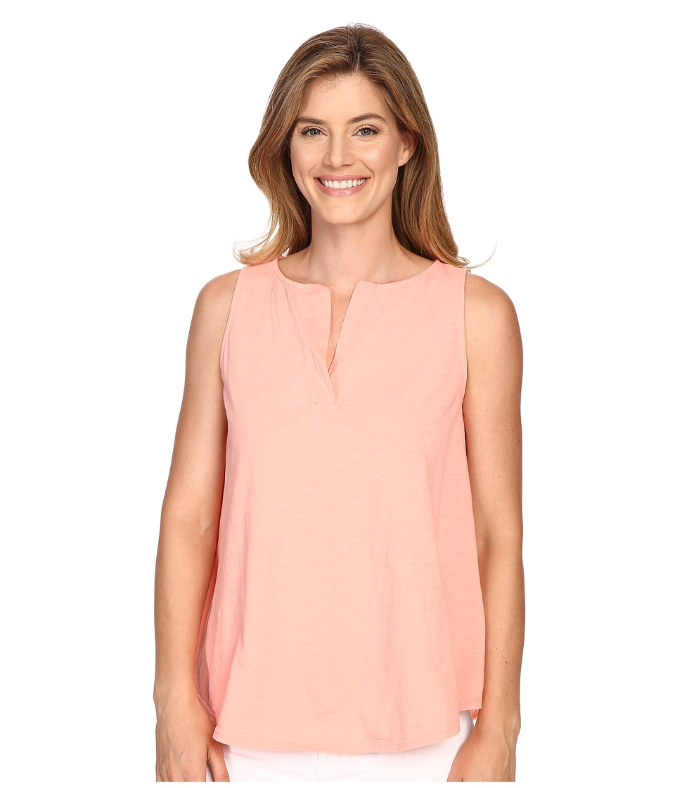Lilla P - Flame Voile Split-Neck Tank Top (Coral Reef) Women's Sleeveless