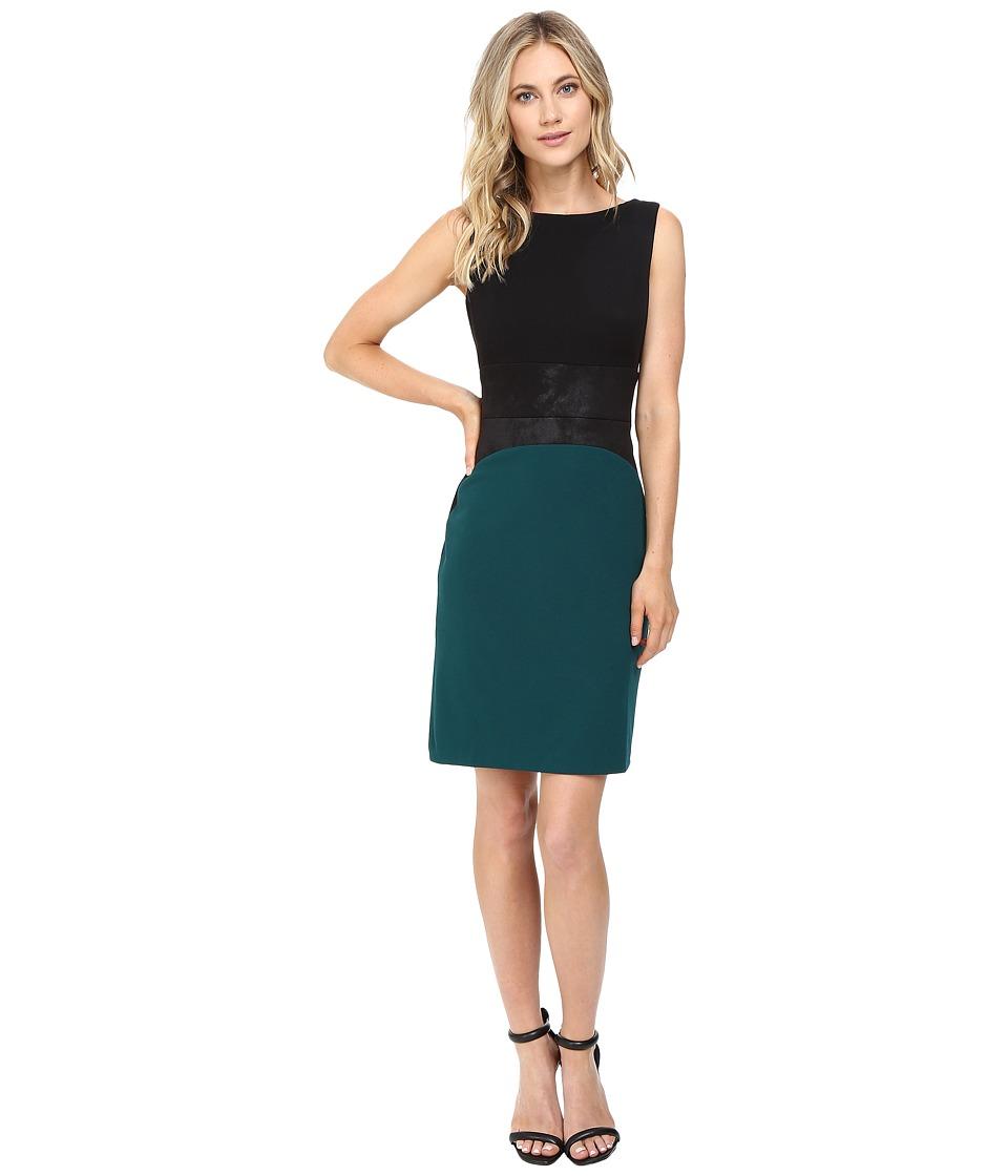 Christin Michaels Zain Color Block Dress (Black/Teal) Women