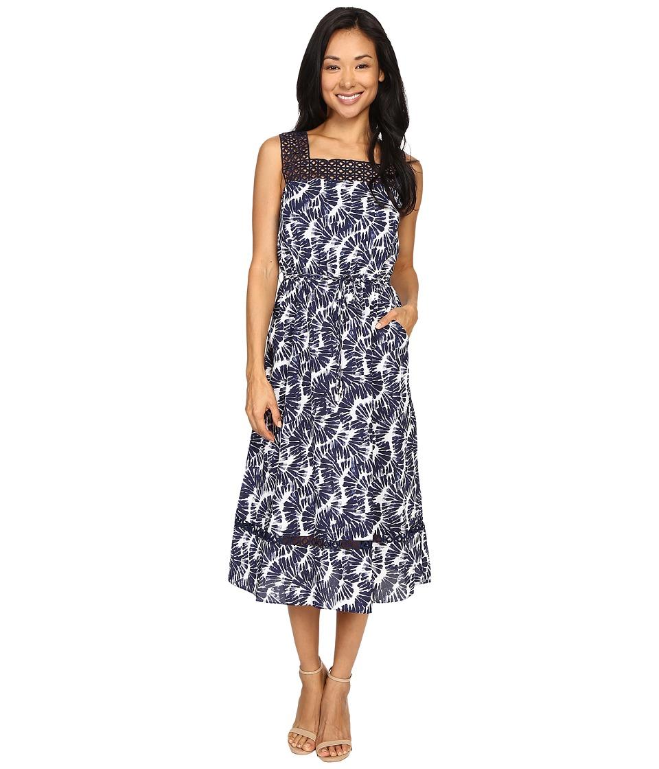 Christin Michaels Joni Lace Illusion Printed Dress (China Blue) Women