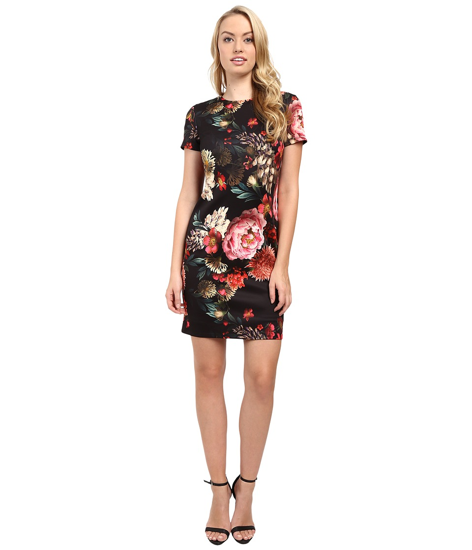 Christin Michaels - Floral Print T-Shirt Dress (Black/Pink) Women's Dress