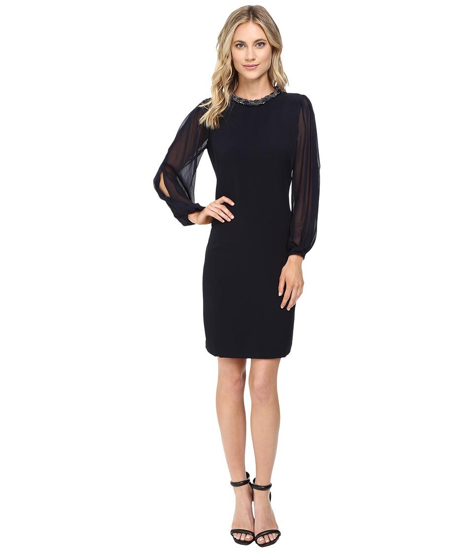 Christin Michaels Gillian Necklace Dress (Navy) Women