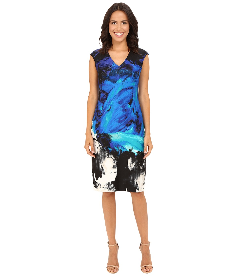 Christin Michaels Ancona Printed Scuba Dress (Teal) Women