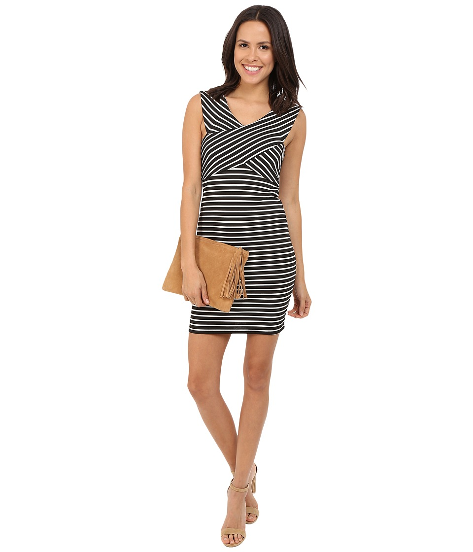 ONLY - Daria Wrap Dress (Black/Bright White Stripes) Women's Dress