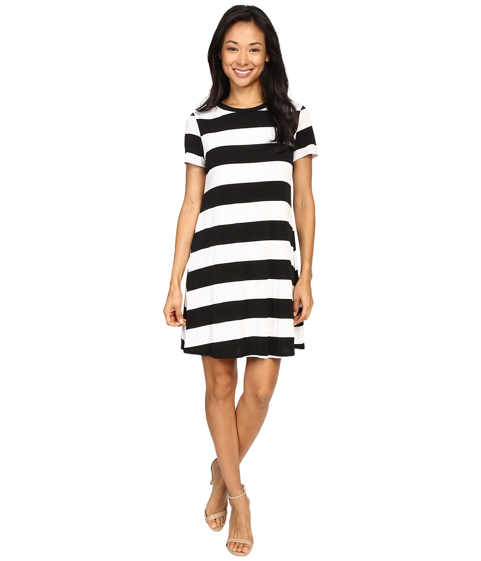 Christin Michaels - Sara Wide Strike Knit Dress (Black/White) Women's Dress