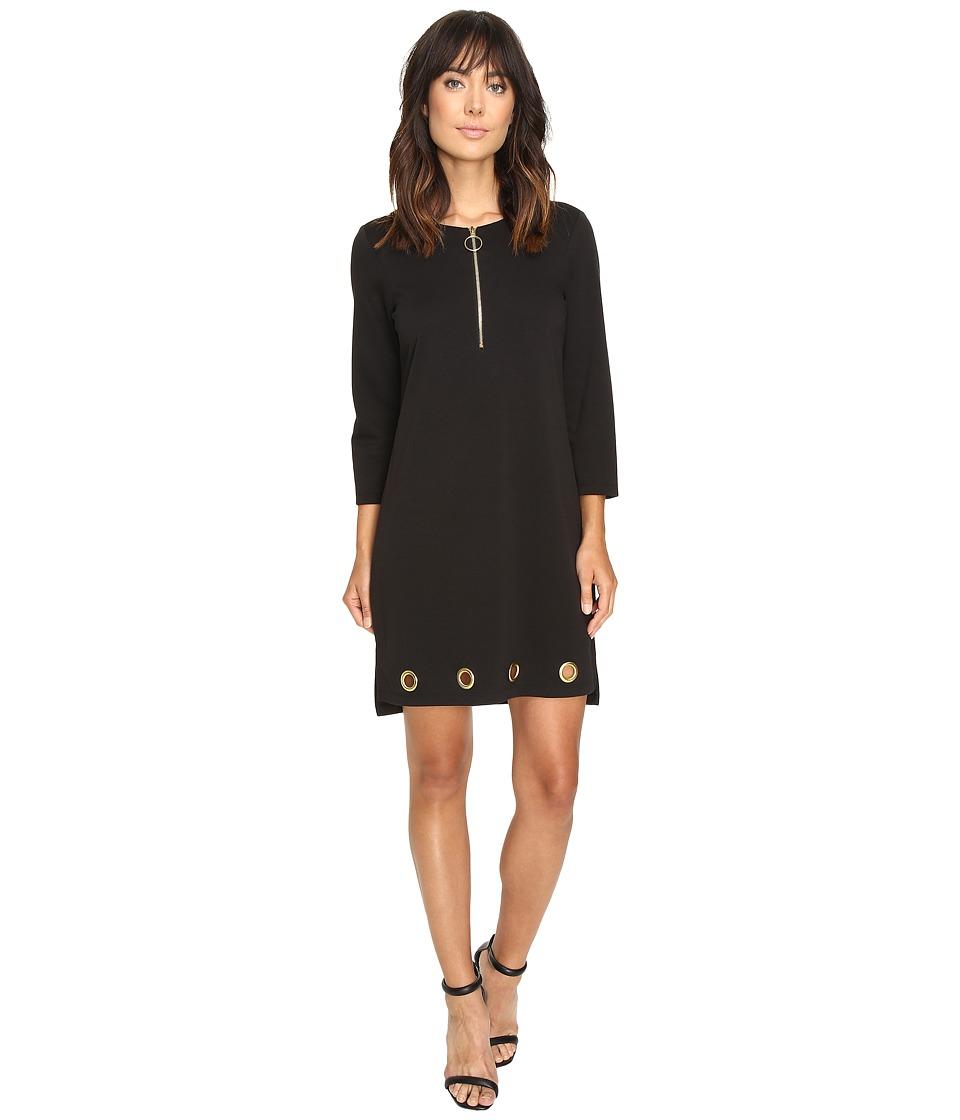 Christin Michaels - Price Zip Front Grommet Dress (Black) Women's Dress