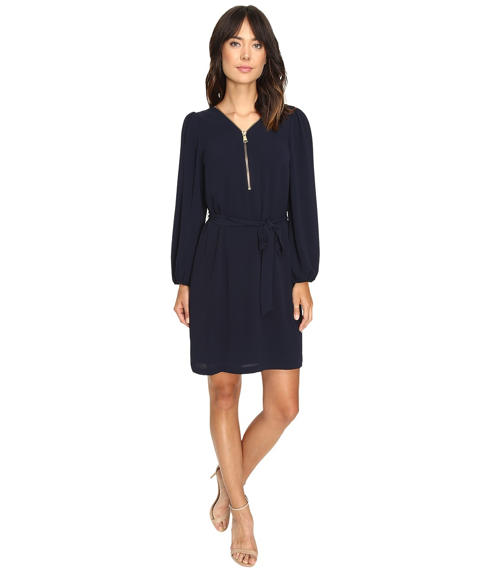 Christin Michaels JD Zip Front Shift Dress (Black/Gold) Women