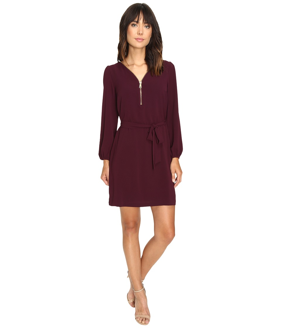 Christin Michaels - JD Zip Front Shift Dress (Wine/Gold) Women's Dress