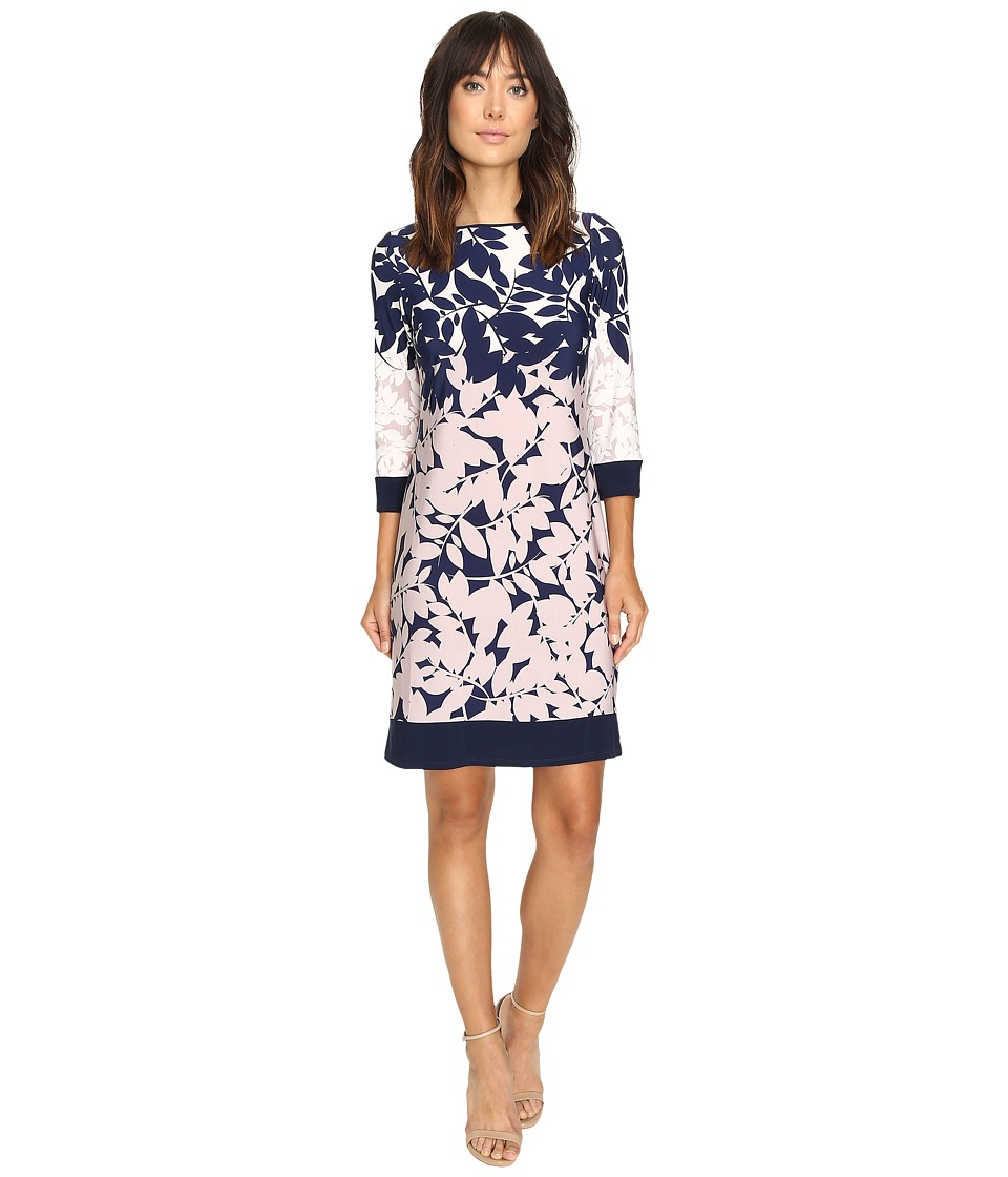 Christin Michaels - Staci Floral Printed Shift Dress (Navy/Tan/Ivory) Women's Dress