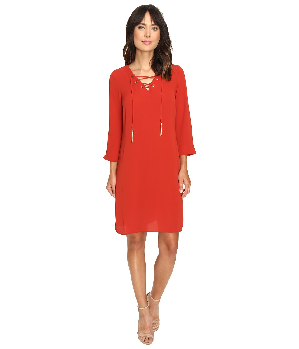 Christin Michaels - Desini Lace-Up Grommet Dress (Rust) Women's Dress