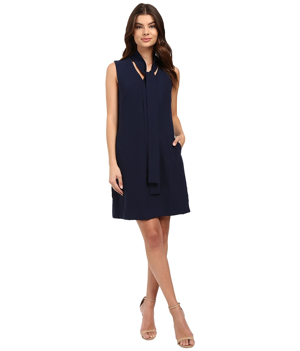 Christin Michaels - Romantic Tie Front Sleeveless Dress (Navy) Women's Dress