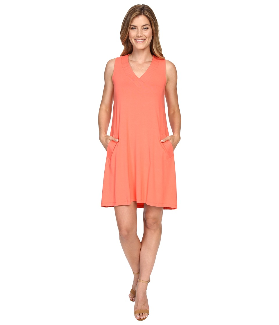 Lilla P - Stretch Jersey V-Neck Shift (Guava) Women's Dress