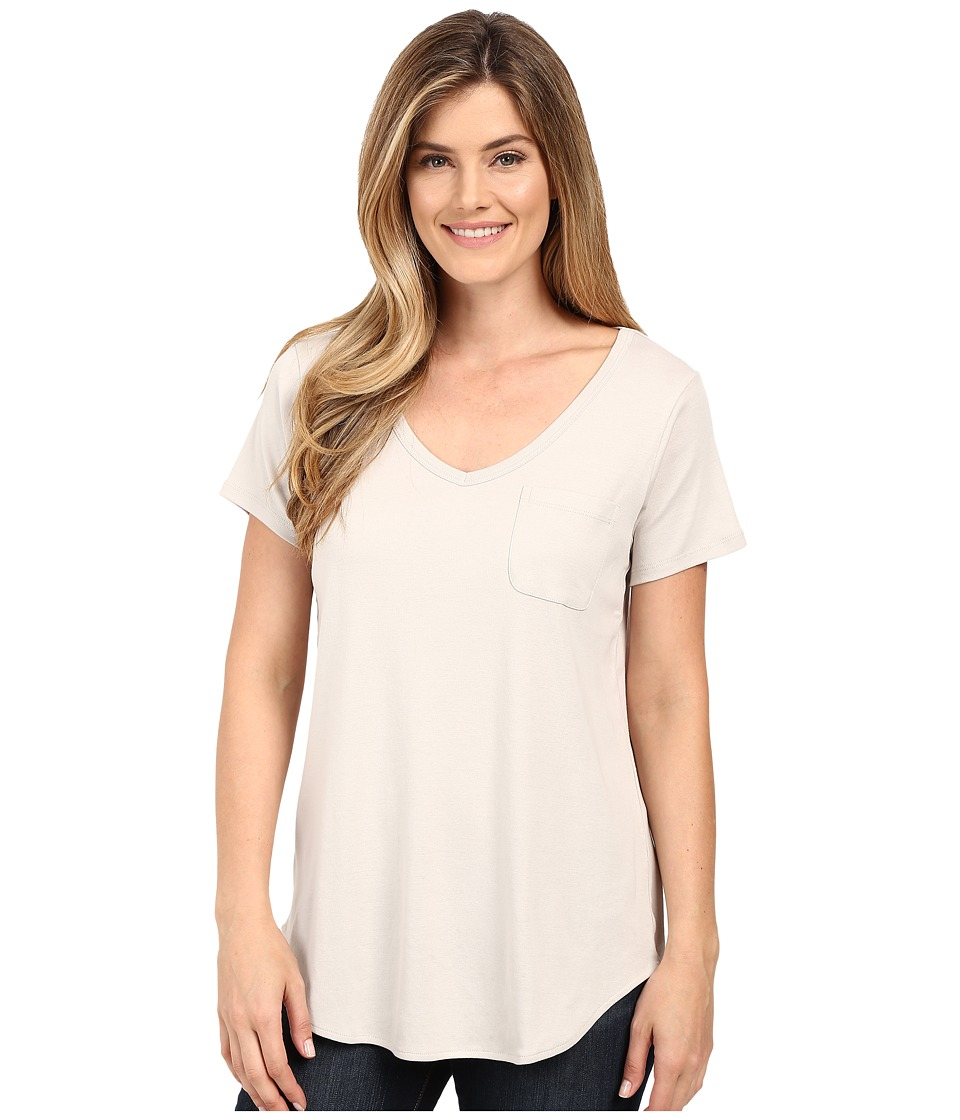 Lilla P - Fine Rib Short Sleeve Pocket Tee (Fossil) Women's T Shirt