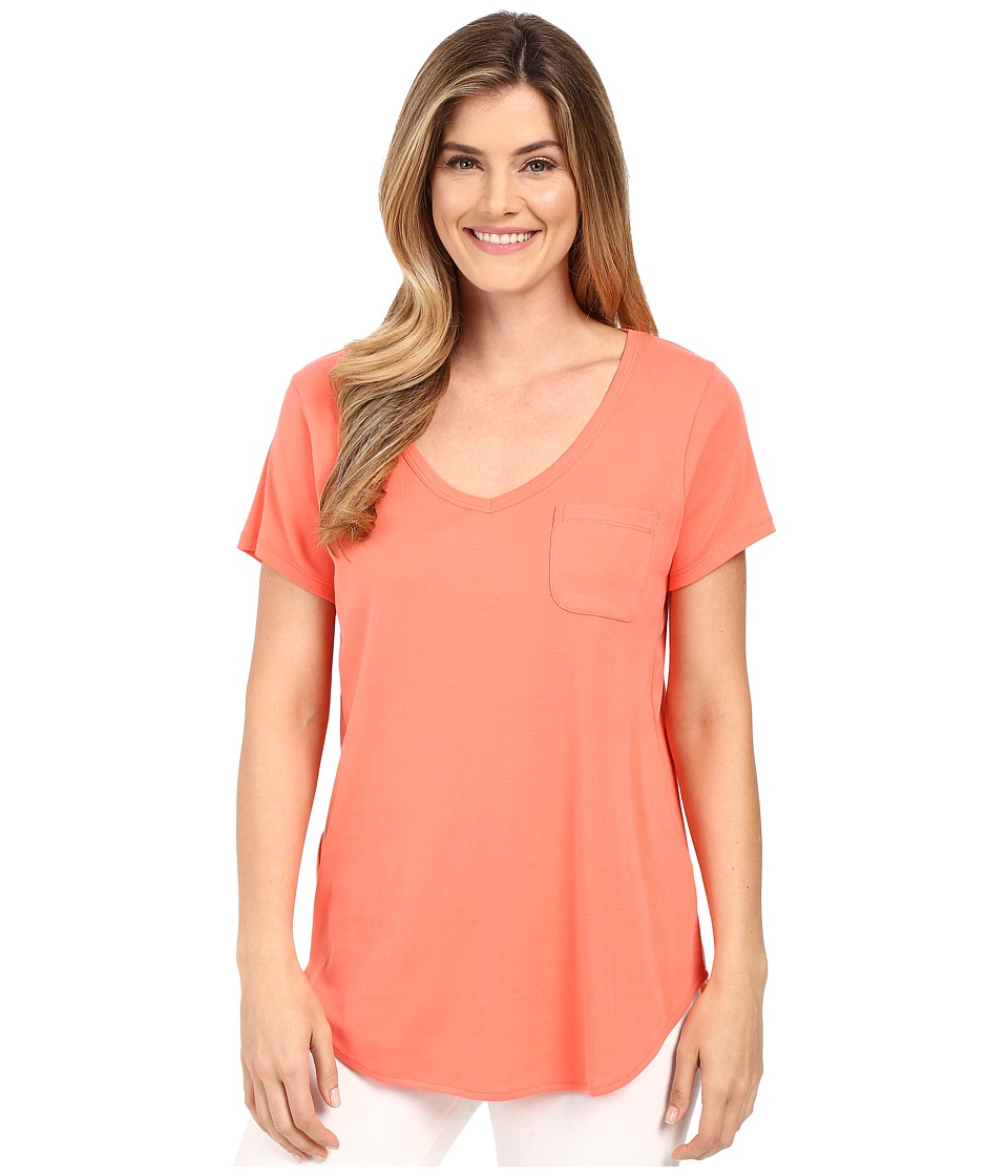 Lilla P - Fine Rib Short Sleeve Pocket Tee (Guava) Women's T Shirt