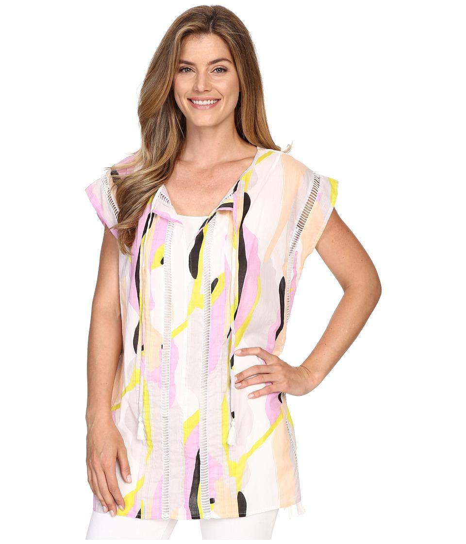 Lilla P Woven Cotton Voile Caftan (Swirl Print) Women
