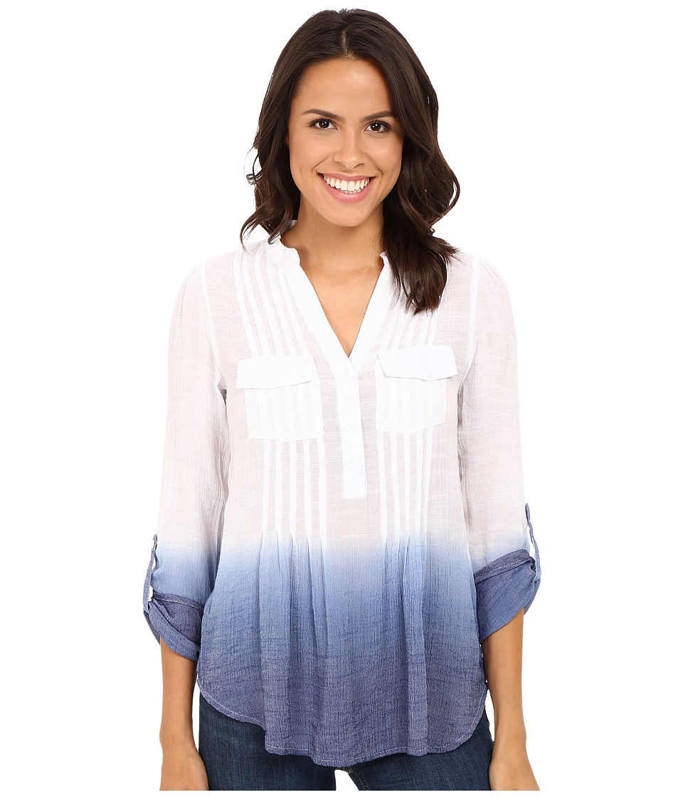 Christin Michaels - Dip Dye Gauze Blouse (Navy/White) Women's Blouse