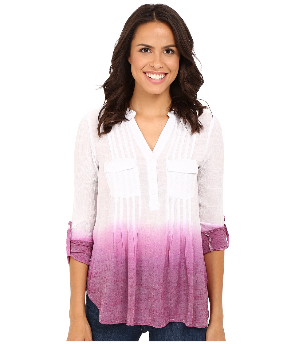 Christin Michaels - Dip Dye Gauze Blouse (Pink/White) Women's Blouse