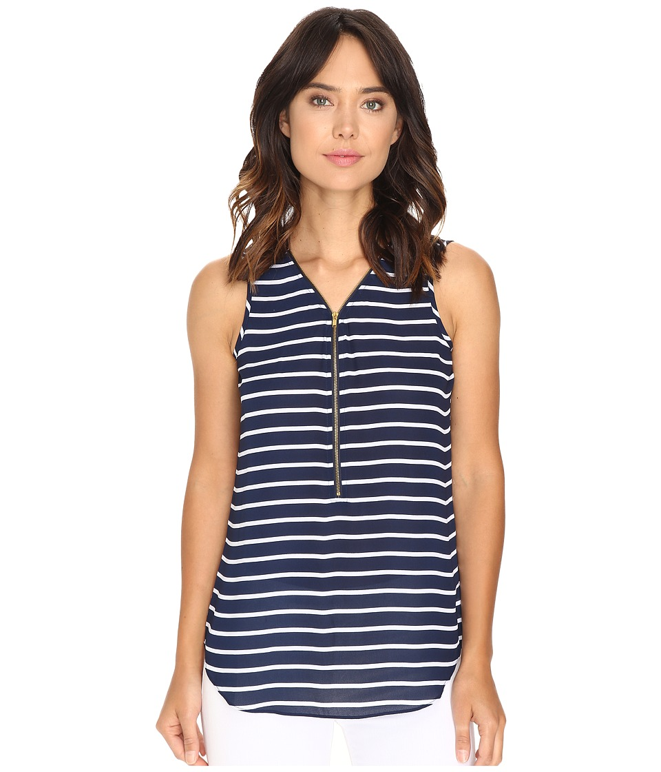 Christin Michaels - Nori Striped Sleeveless Blouse (Navy/White) Women's Blouse