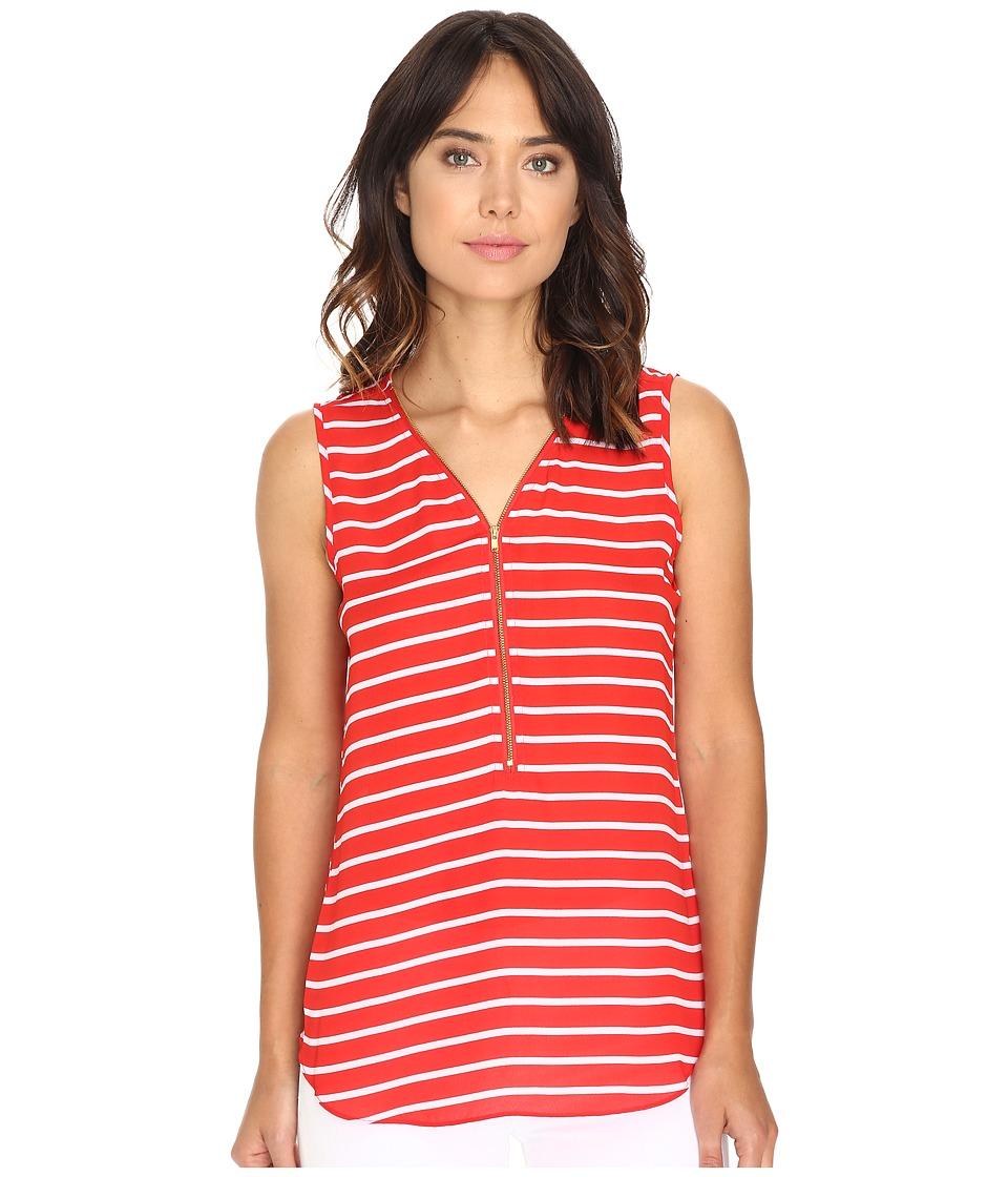 Christin Michaels - Nori Striped Sleeveless Blouse (Red/White) Women's Blouse