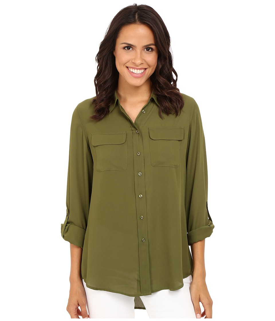 Christin Michaels - Paula Button Down Blouse (Olive) Women's Blouse