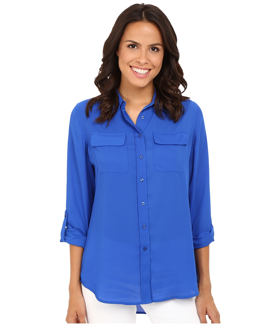 Christin Michaels - Paula Button Down Blouse (Atlantic Blue) Women's Blouse
