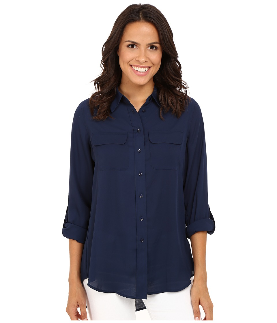 Christin Michaels - Paula Button Down Blouse (Ship Shape Navy) Women's Blouse