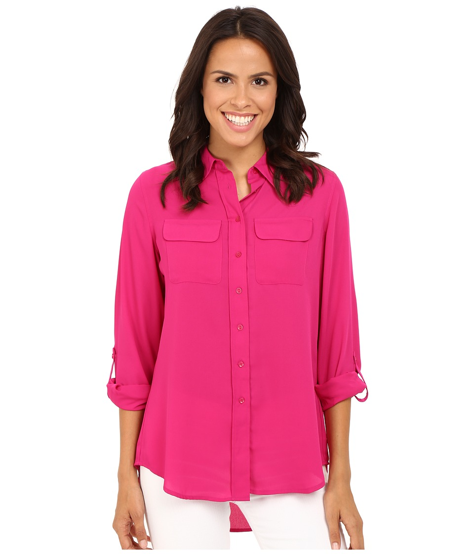 Christin Michaels - Paula Button Down Blouse (Bright Orchid) Women's Blouse