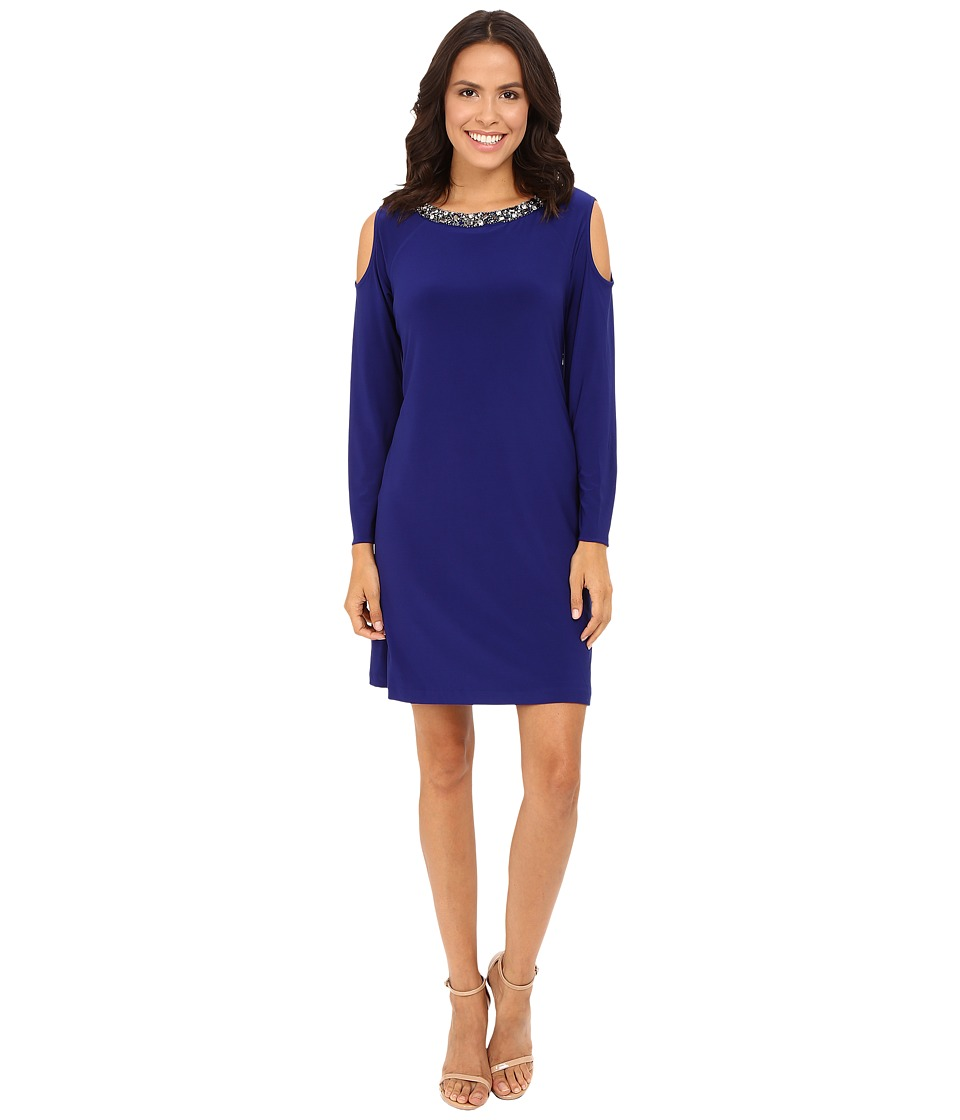 rsvp Amber Cold Shoulder Jewel Neck Dress (Blue) Women