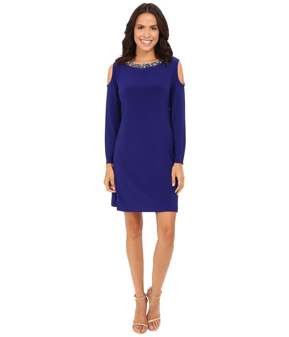 rsvp - Amber Cold Shoulder Jewel Neck Dress (Blue) Women's Dress